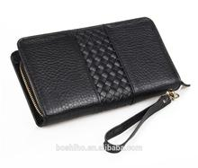 Customized design men's genuine leather zipper round clutch long wallet