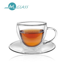 wholesale high quality 80ml double wall glass coffee cup tea cup handmade glassware N6041