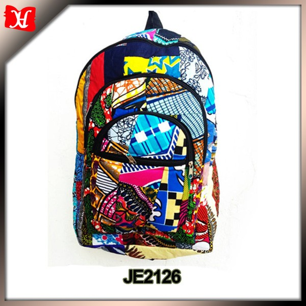 Foldable Rucksack colorful hippie backpack bag with african printing