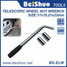 Metal Telescopic Wheel Nut Wrench, Auto Hand Socket Spanner Tools with Rubber Covered Handle