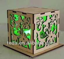 2016 laser cut wooden box for light, Exhibition