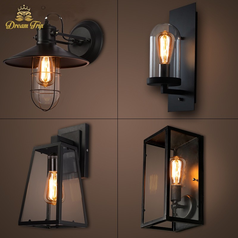 loft modern outdoor wrought vintage black iron down glass mounted wall lamp for hotel