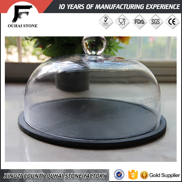 Indent round slate cheese plate with cover butter cloche tray