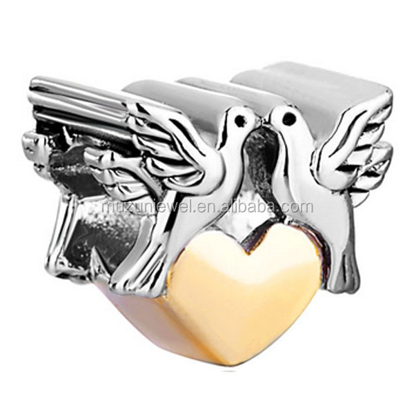 925 sterling silver peace bird heart charm beads for jewelry making