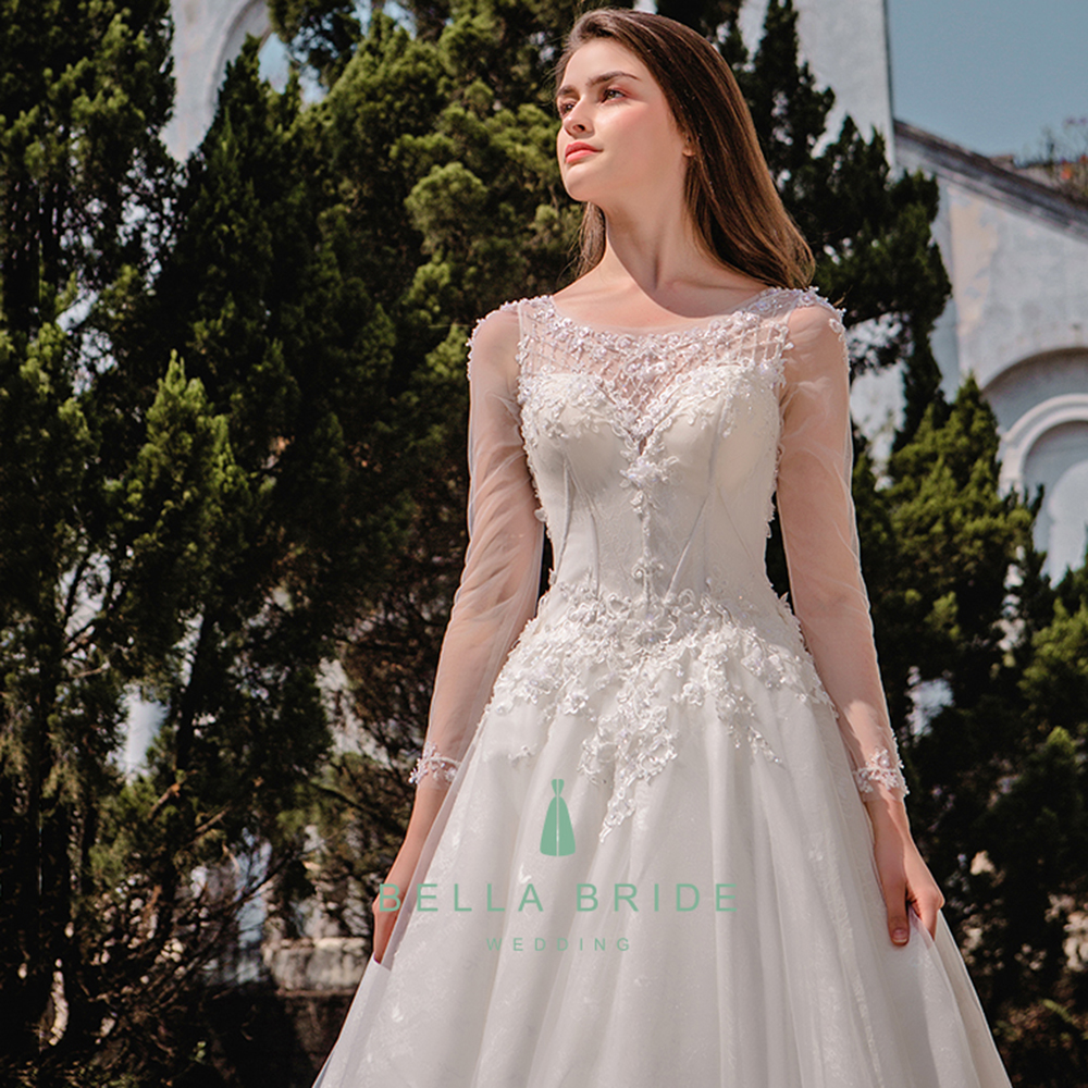 Real pictures of beautiful wedding gowns Chinese designer wedding dress long sleeve bridal wedding gown for Philippines