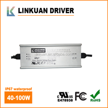 UL listed waterproof 26-40v Outdoor Using 1500mA 75w led driver with TUV SAA CCC Certification