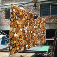 Translucent Browne Bronze color Agate Backlit Semiprecious Stone slabs