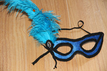 2014 Ostrich hair cock lace decoration solid color lint party ostrich cock feather mask