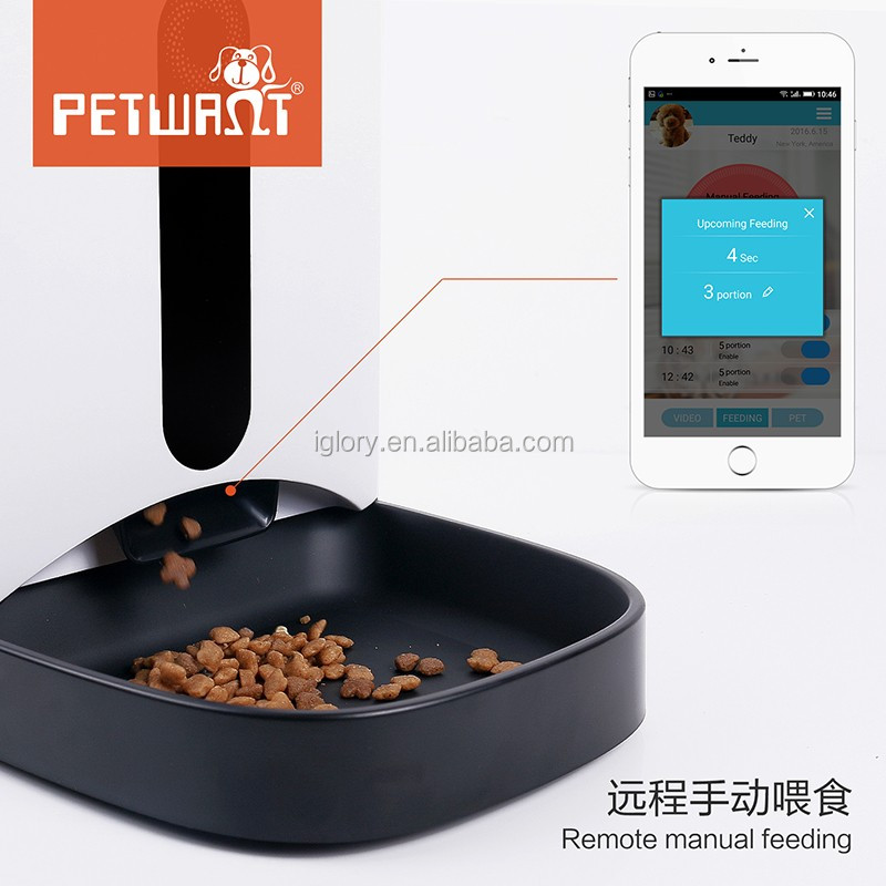 2017 remote control wifi APP for android and IOS web camera video monitor automatic smart pet feeder