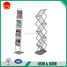 Quality Assurance Christmas use Folding Aluminum Magazine Rack Floor Stand