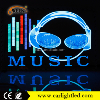 Led Sound Control Music Light, 12v Beautiful Sticker On Car, Music Car Design Sticker