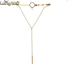 European Style Double Layers <strong>Necklaces</strong> with Strip Chain Tassel Pendant and Small Coin Disc Choker
