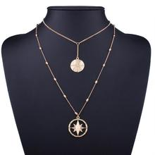 QD117 Huilin Jewelry Unicursal Hexagram Necklace Round plate Double Layered Chain Necklace