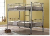 Kids metal bunk bed divided into two single beds