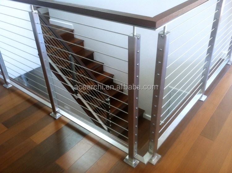 Stainless Steel Material and Flooring Mounted Stainless Steel Baluster Deck Railing for an Outdoor Deck