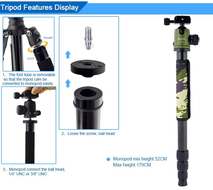 High quality photographic equipment professional carbon fiber flexible dslr SLR camera tripod studio tripod for video
