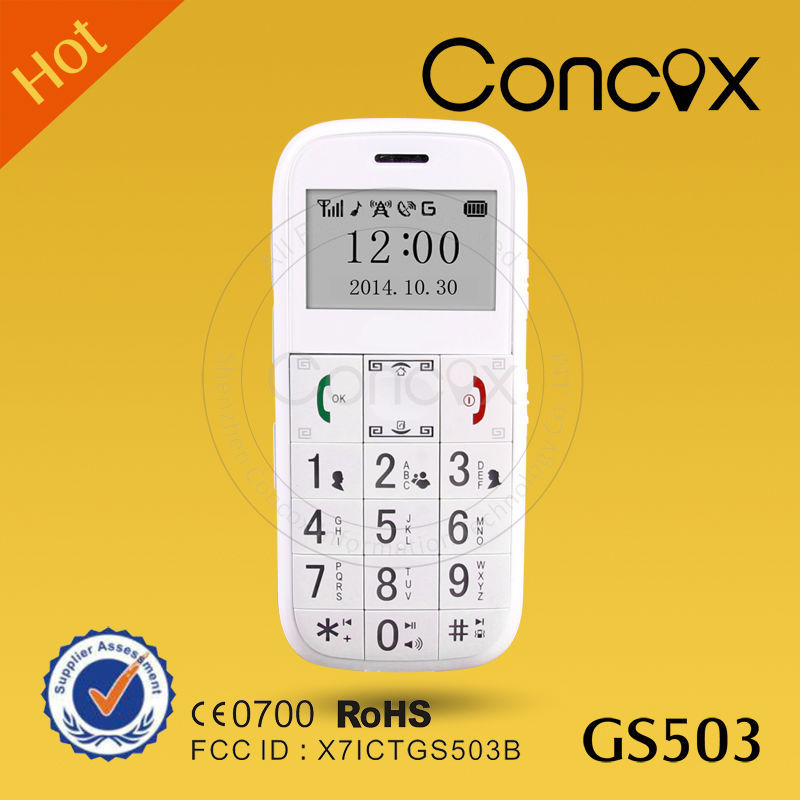 Quad-band senior citizen gps mobile phone with multi-language supported and 7-day standby time Concox GS503
