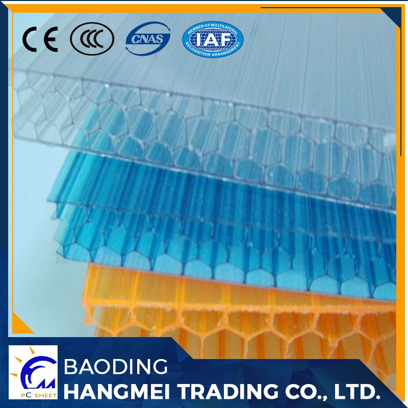 Light weight virgin 6mm pc hollow colored honeycomb polycarbonate sheet