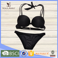 Professional hot support elastic black push up young girl bikini photos panties and bra