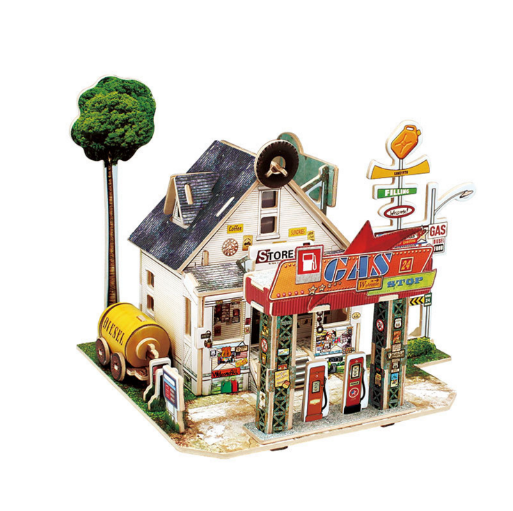 World Style Wooden DIY Mini House Model 3D Puzzle Toy