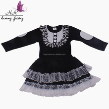 Latest Children Dress Frocks Designs New Style Baby Fancy Dress Pictures Black Cotton Dress with lace For Girls