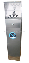 Stainless Steel Free Standing Outdoor Cigarette Bin, Ash Tray