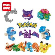 Hot selling plastic mini blocks DIY Intelligence toy different pokemon action figures