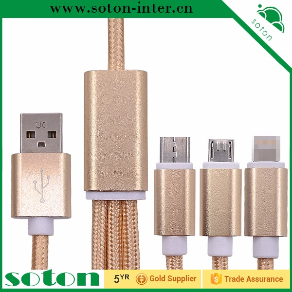 Wholesale Alibaba 4G Smartphone Accessory 1M Nylon Type-c 3 in 1 Charging Cable For Apple Android
