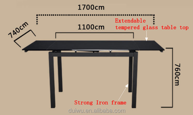 Modern painting black iron legs tempered glass extendable dining pool table
