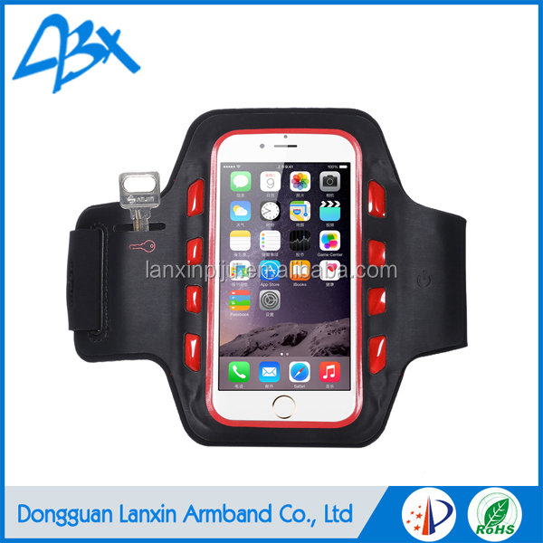 Hot sell LED Sports Cell Phone Black Armband;light up case for iphone 5c