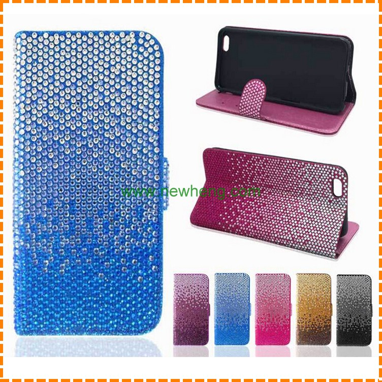 lowest price full diamond cover mobile phone leather case for iphone 6 6s