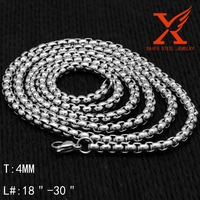 "4MM Small Cheap Mens Necklace Chain Sexy Body Long Fashion Stainless Steel Link Chain Necklace for Length 18"" 20"" 24"" 28"" 30"" 36"