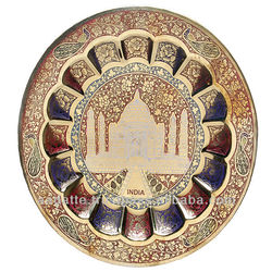 Wall hanging Indian decorative hand painted taj embossed brass plate