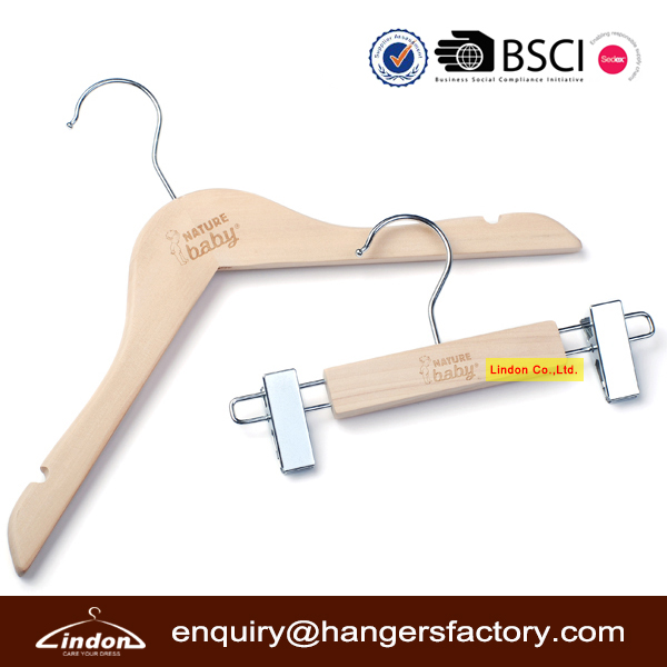 premium quality cut brand logo wooden baby hangers for top and bottom