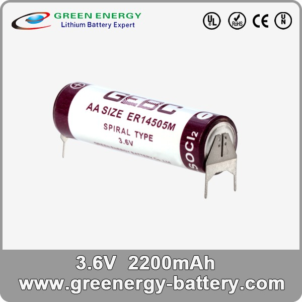 3.6V aa battery ER14505 primary lithium battery for AMI,AMR