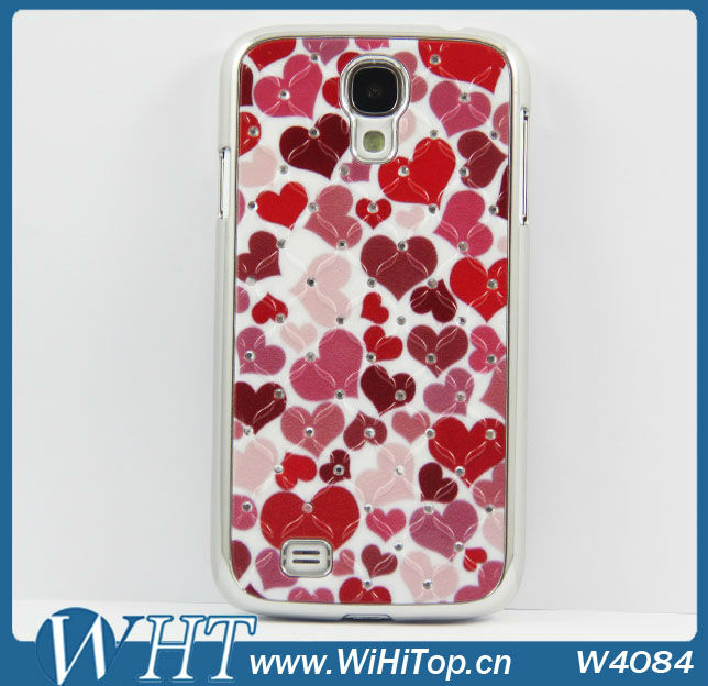 For Samsung Galaxy S4 Mini i9190 Heart Diamond Star Case Chrome Hard Back Cover Skin