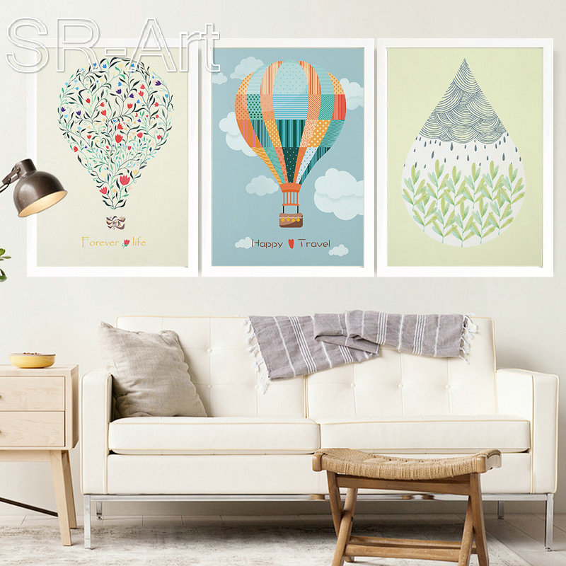 Nordic Art Cartoon Hot Balloon Canvas Poster Minimalist Painting Funny Wall Picture Print Modern Kids Room Decoration