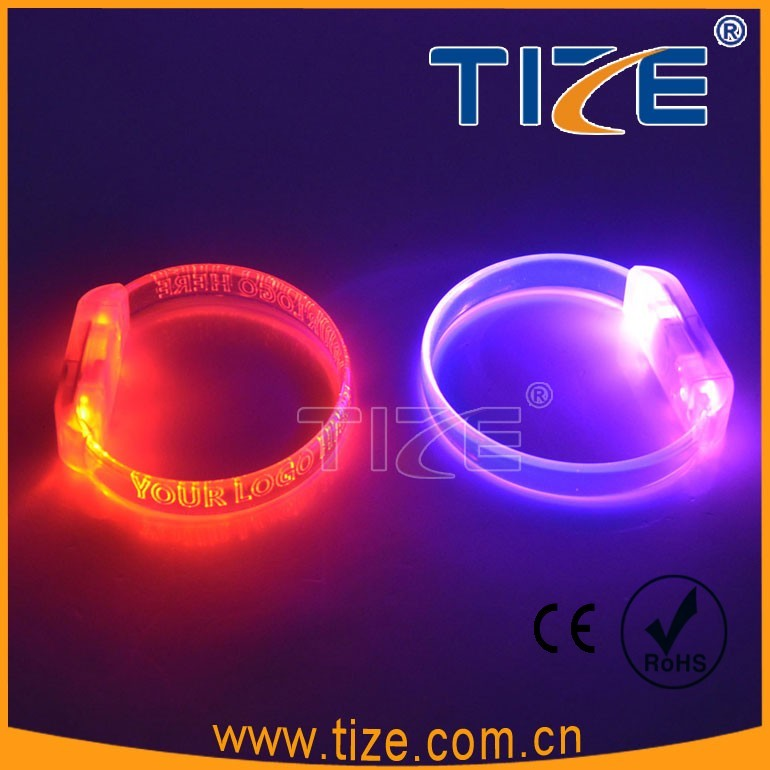Sound Activated Flashing LED Bright Bracelet Colorful Blue Green Red
