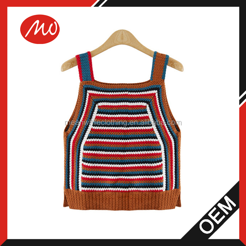 lady wholesale cable knit cotton string vest sweater