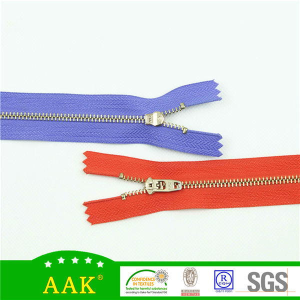 made in same color in AAK color card golden y teeth close-end zipper