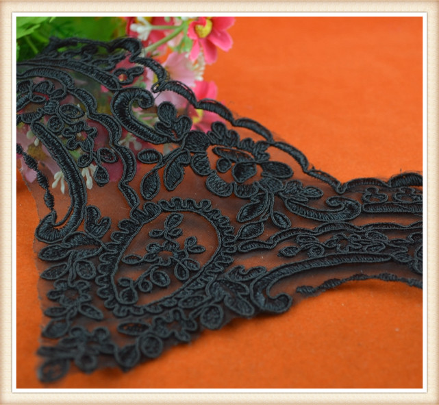 2015 top one wholesale cord lace for dress/ black cord lace embroiderey lace trimmings