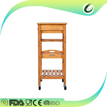 portable rolling bamboo kitchen serving trolley cart