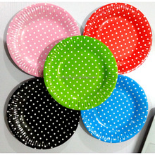 China factory direct sale colorfull disposable polka dots round paper plate