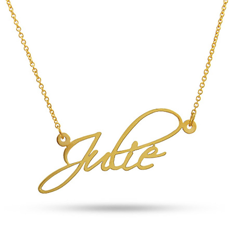 Yiwu Meise Fancy Script Gold Custom Name Necklace