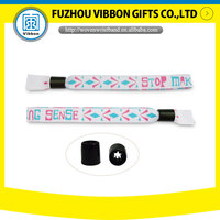 custom high secure fabric wristband with plastic fastener