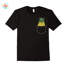 Black 100% Cotton Fashion Design Custom Pineapple Printed Pocket T shirt Relaxed Skater Fit T shirt Street Wear