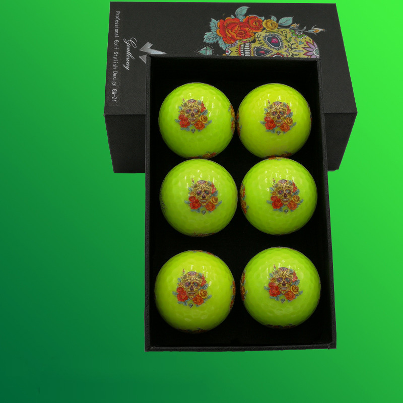 Golf balls Luminous tournament balls with rose and skeleton pattern