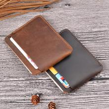 Full Grain Genuine Leather Card <strong>Wallet</strong> Vintage Style Crazy Horse Front Pocket <strong>Wallets</strong> Credit Cards Orgnise