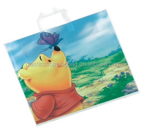Soft Loop OEM Custom Cartoon Logo Printed Plastic Shopping Bag