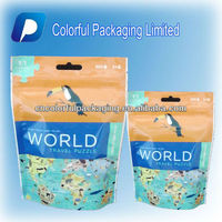 Puzzle doy packaging bags/plastic zipper bags/Euro Hold reusable Side-Gusset packaging pouch